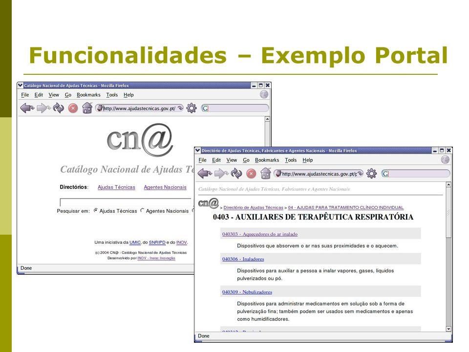 Funcionalidades – Exemplo Portal