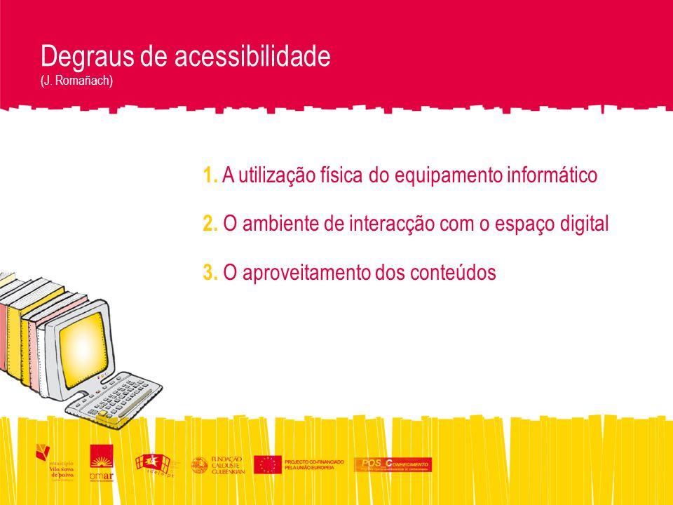 Degraus de acessibilidade (J. Romañach) 1. A utilização física do equipamento informático 2.