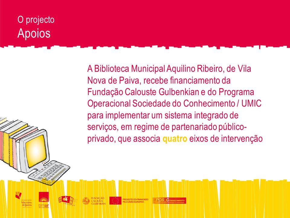 O projecto Apoios A Biblioteca Municipal Aquilino Ribeiro, de Vila Nova de Paiva, recebe financiamento da Fundação Calouste Gulbenkian e do Programa Operacional Sociedade do Conhecimento / UMIC para implementar um sistema integrado de serviços, em regime de partenariado público- privado, que associa quatro eixos de intervenção