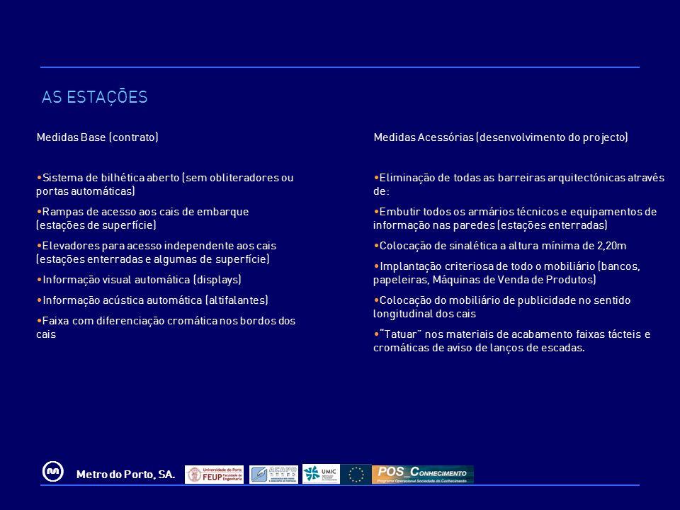 © Metro do Porto, SA. Medidas Base (contrato) Sistema de bilhética aberto (sem obliteradores ou portas automáticas) Rampas de acesso aos cais de embar