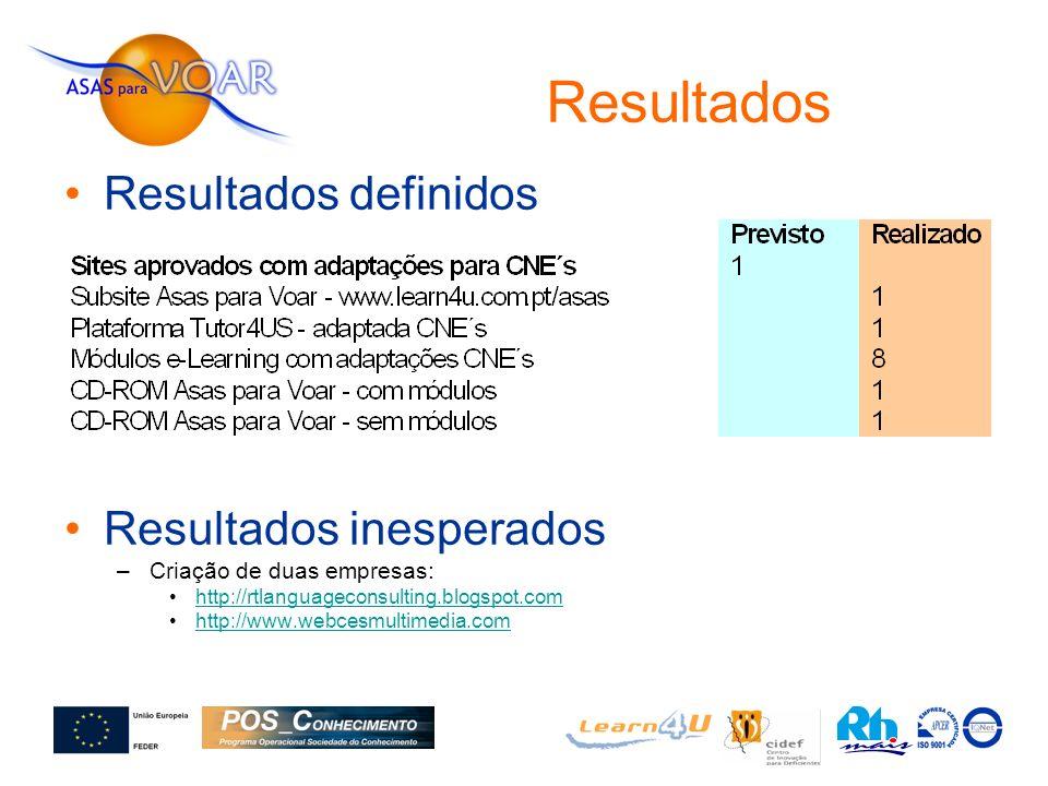Resultados Resultados definidos Resultados inesperados –Criação de duas empresas: http://rtlanguageconsulting.blogspot.com http://www.webcesmultimedia.com