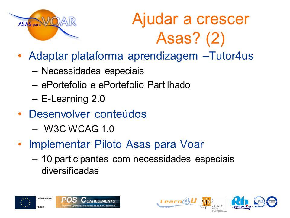 Adaptar plataforma aprendizagem –Tutor4us –Necessidades especiais –ePortefolio e ePortefolio Partilhado –E-Learning 2.0 Desenvolver conteúdos – W3C WC