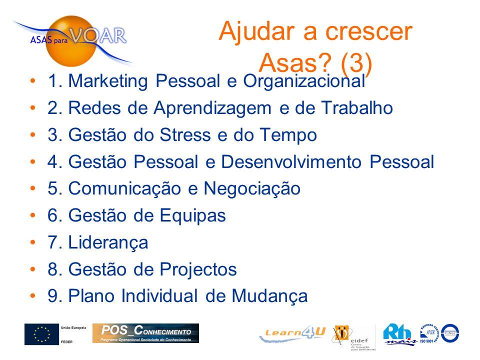 1. Marketing Pessoal e Organizacional 2. Redes de Aprendizagem e de Trabalho 3. Gestão do Stress e do Tempo 4. Gestão Pessoal e Desenvolvimento Pessoa