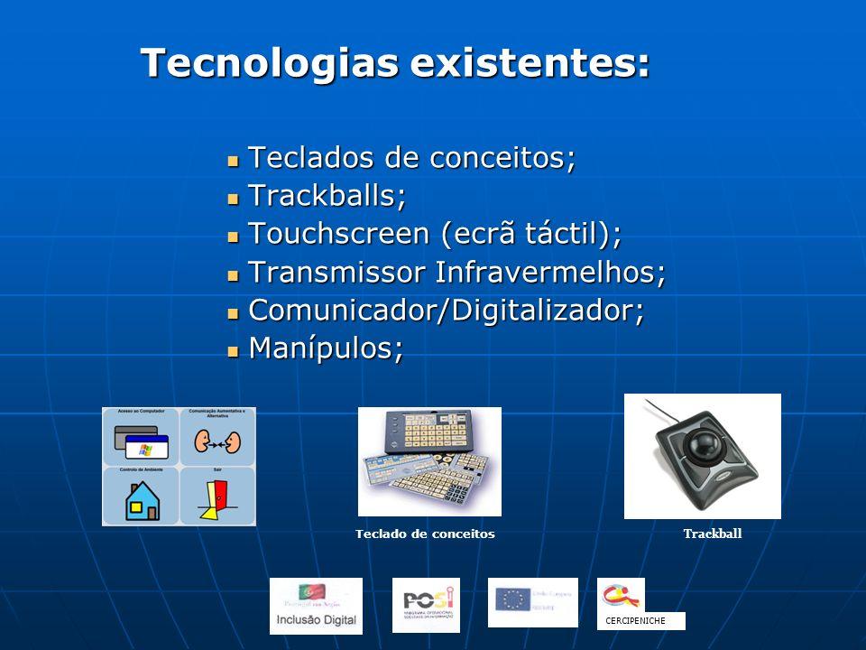Tecnologias existentes: Teclados de conceitos; Teclados de conceitos; Trackballs; Trackballs; Touchscreen (ecrã táctil); Touchscreen (ecrã táctil); Tr