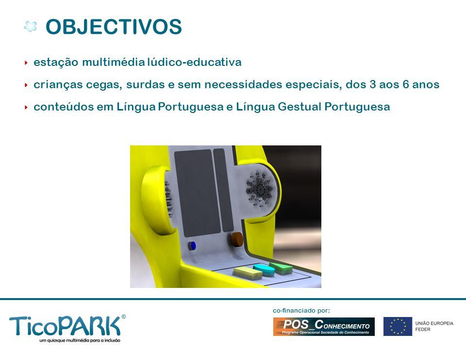 estação multimédia lúdico-educativa crianças cegas, surdas e sem necessidades especiais, dos 3 aos 6 anos conteúdos em Língua Portuguesa e Língua Gestual Portuguesa OBJECTIVOS co-financiado por: