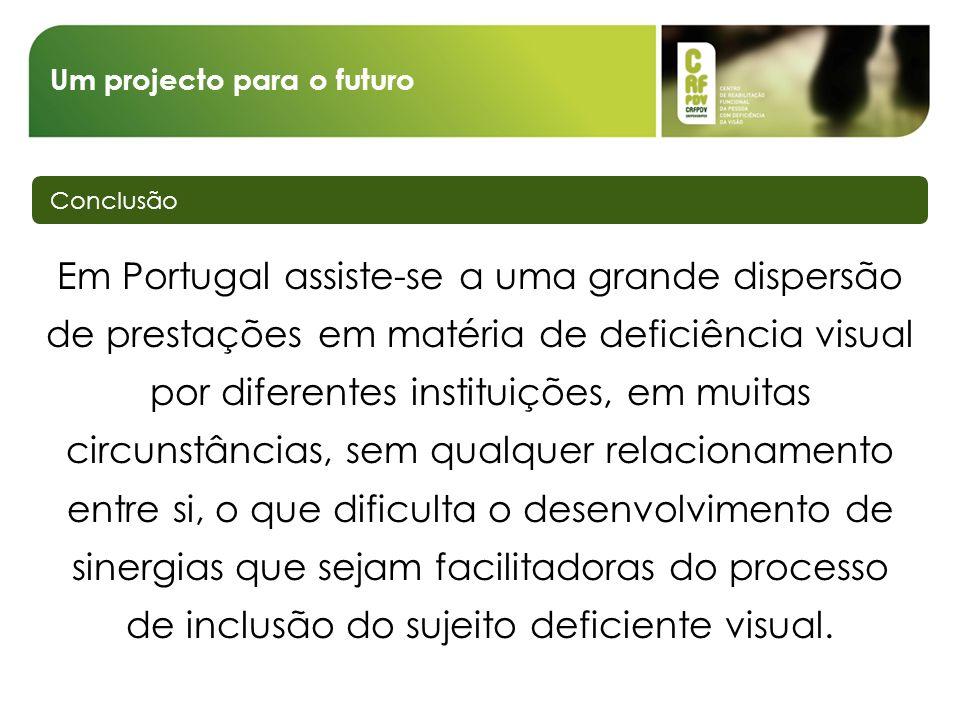 Um projecto para o futuro Conclusão Em Portugal assiste-se a uma grande dispersão de prestações em matéria de deficiência visual por diferentes instit