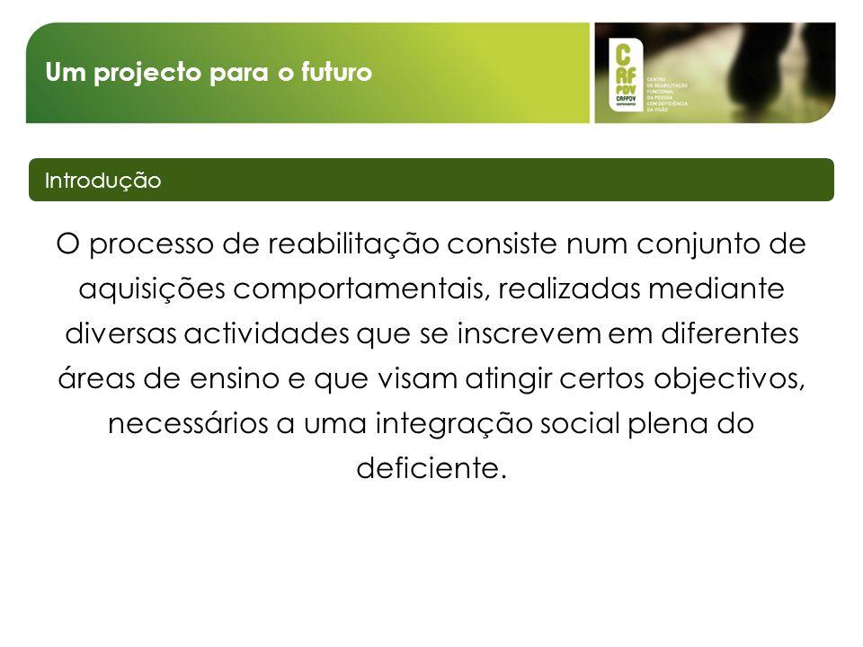 Um projecto para o futuro Introdução O processo de reabilitação consiste num conjunto de aquisições comportamentais, realizadas mediante diversas acti