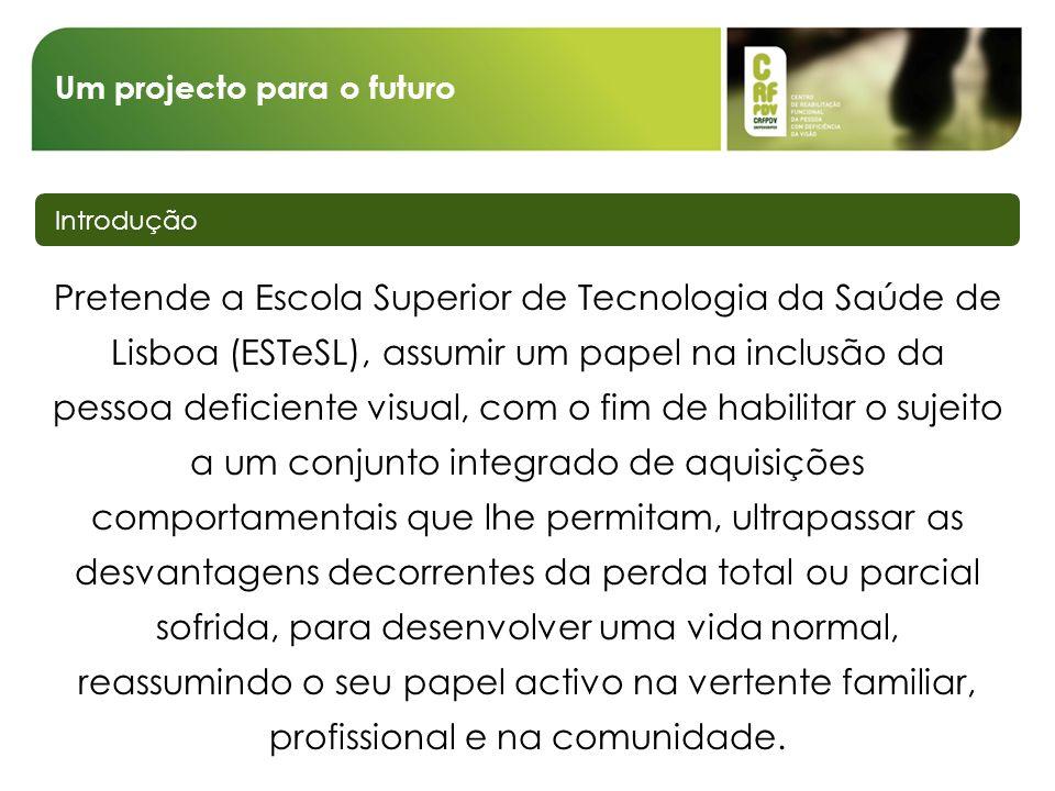 Um projecto para o futuro Introdução ESTeSL Licenciatura em Ortóptica Formação Deficiência visual Comunidade Centro de Reabilitação Funcional da Pessoa com Deficiência da Visão