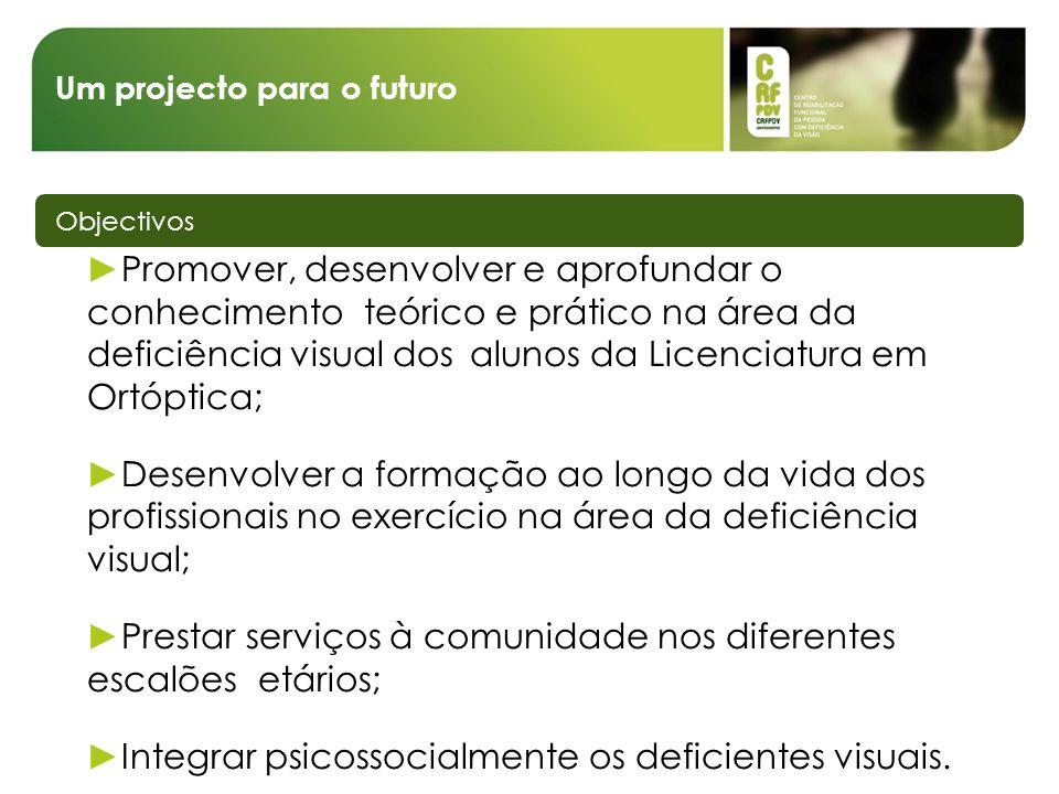 Um projecto para o futuro Objectivos Promover, desenvolver e aprofundar o conhecimento teórico e prático na área da deficiência visual dos alunos da L