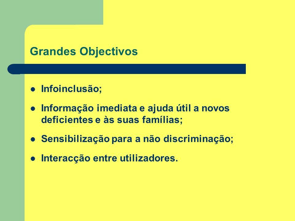 Grandes Objectivos Infoinclusão; Informação imediata e ajuda útil a novos deficientes e às suas famílias; Sensibilização para a não discriminação; Int