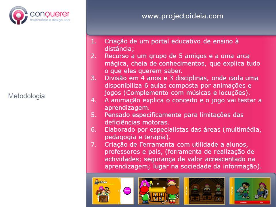 Metodologia www.projectoideia.com 1.Criação de um portal educativo de ensino à distância; 2.Recurso a um grupo de 5 amigos e a uma arca mágica, cheia de conhecimentos, que explica tudo o que eles querem saber.