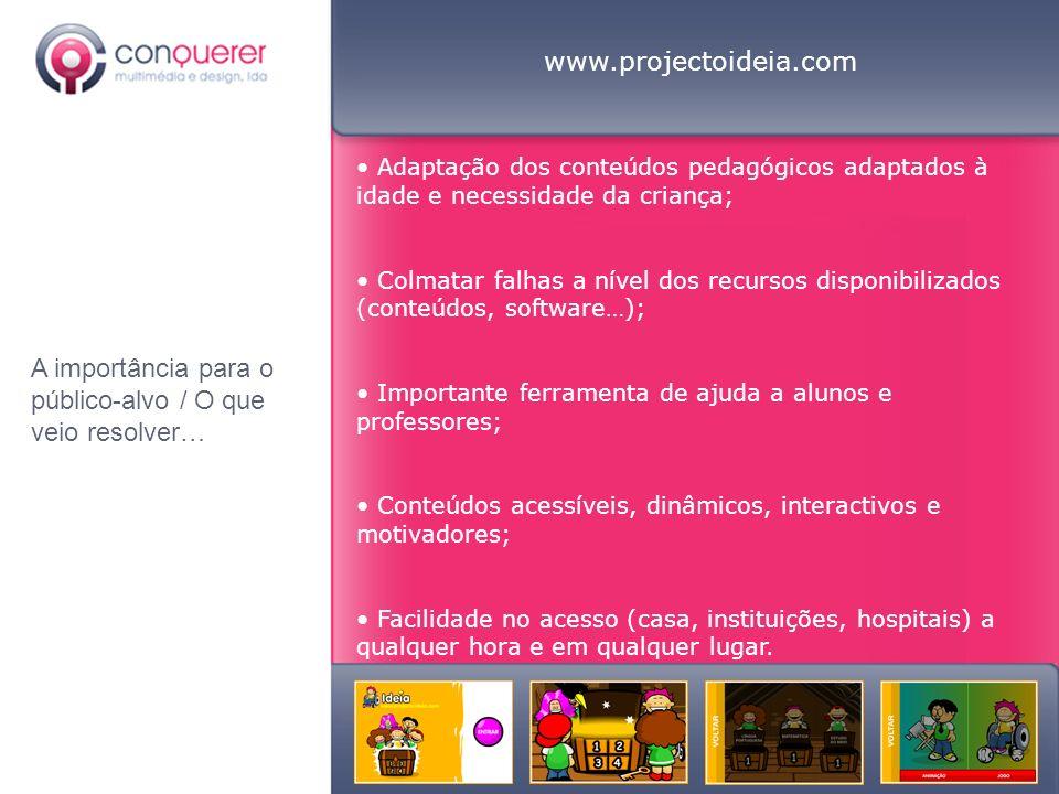 www.projectoideia.com Adaptação dos conteúdos pedagógicos adaptados à idade e necessidade da criança; Colmatar falhas a nível dos recursos disponibili
