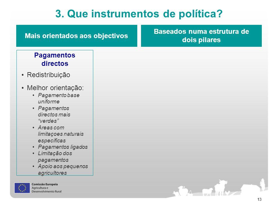 13 3. Que instrumentos de política? Mais orientados aos objectivos Baseados numa estrutura de dois pilares Pagamentos directos Redistribuição Melhor o