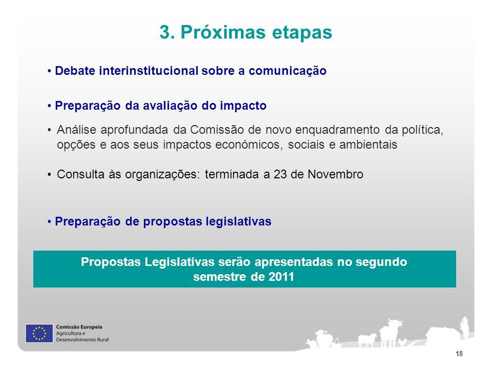 18 3. Próximas etapas Debate interinstitucional sobre a comunicação Preparação da avaliação do impacto Preparação de propostas legislativas Análise ap