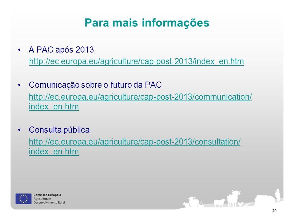 20 Para mais informações A PAC após 2013 http://ec.europa.eu/agriculture/cap-post-2013/index_en.htm Comunicação sobre o futuro da PAC http://ec.europa