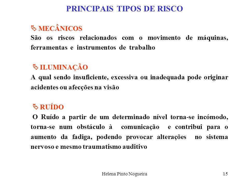 Helena Pinto Nogueira15 PRINCIPAIS TIPOS DE RISCO MECÂNICOS São os riscos relacionados com o movimento de máquinas, ferramentas e instrumentos de trab