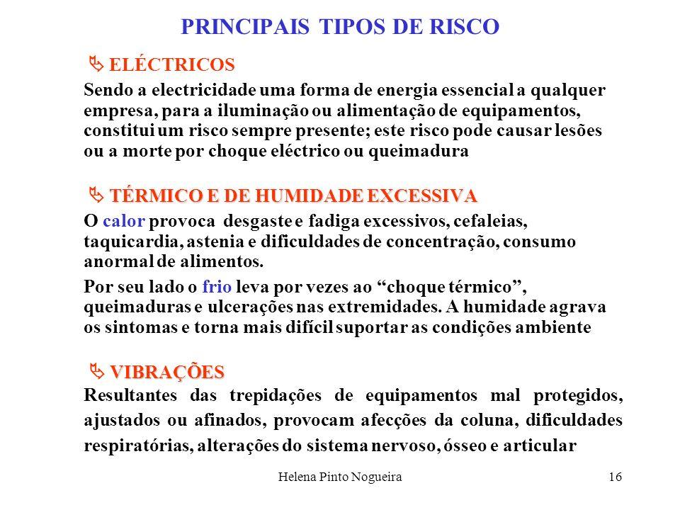 Helena Pinto Nogueira16 PRINCIPAIS TIPOS DE RISCO ELÉCTRICOS Sendo a electricidade uma forma de energia essencial a qualquer empresa, para a iluminaçã