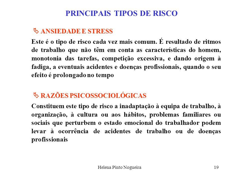 Helena Pinto Nogueira19 PRINCIPAIS TIPOS DE RISCO ANSIEDADE E STRESS Este é o tipo de risco cada vez mais comum. É resultado de ritmos de trabalho que