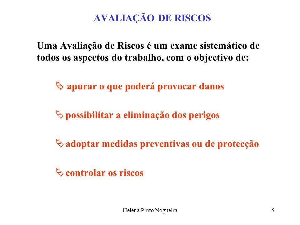 Helena Pinto Nogueira5 AVALIAÇÃO DE RISCOS Uma Avaliação de Riscos é um exame sistemático de todos os aspectos do trabalho, com o objectivo de: apurar