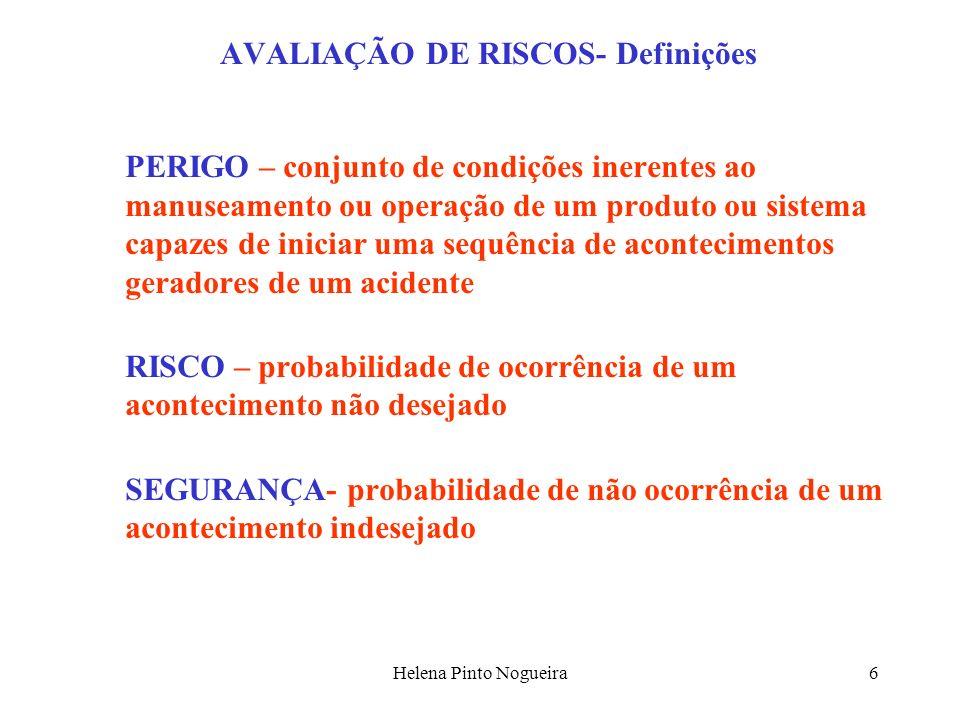 Helena Pinto Nogueira7 AVALIAÇÃO DE RISCOS- Definições AVALIAÇÃO DO RISCO – é o processo de avaliar o risco para a saúde e segurança dos trabalhadores no trabalho decorrente das circunstâncias em que o perigo ocorre no local de trabalho QUANTIFICAÇÃO DO RISCO – é a estimativa da probabilidade de realização de um acontecimento indesejado e das consequências das possíveis sequências de acidentes GESTÃO DO RISCO – método de actuação, no sentido de eliminar ou minimizar a probabilidade de concretização de um acontecimento indesejado ou minorar as suas consequências