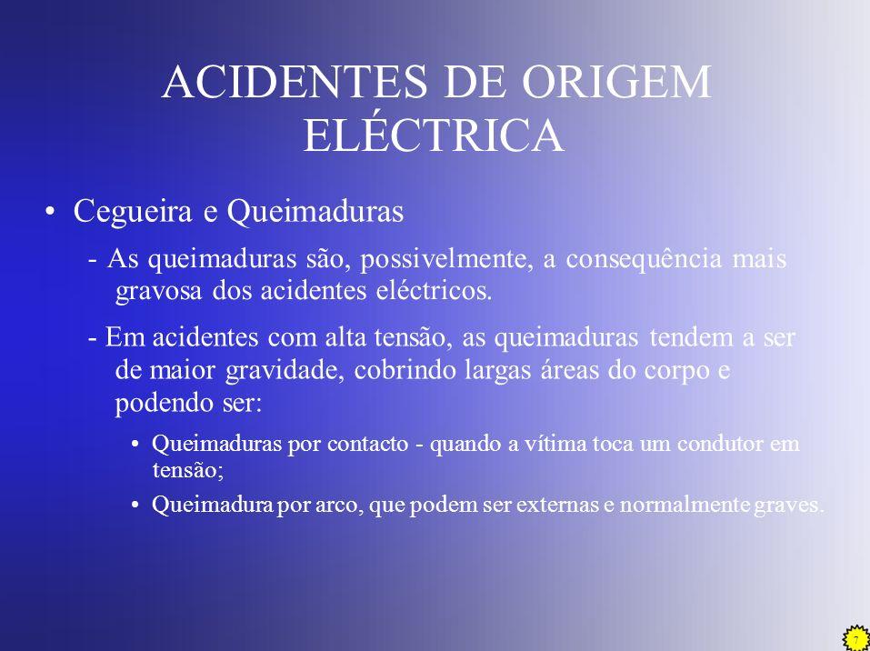 8 ACIDENTES DE ORIGEM ELÉCTRICA Incêndio - A energia libertada nos condutores sob a forma de calor, que é originada por sobreintensidades, pode provocar o início do processo de ignição.
