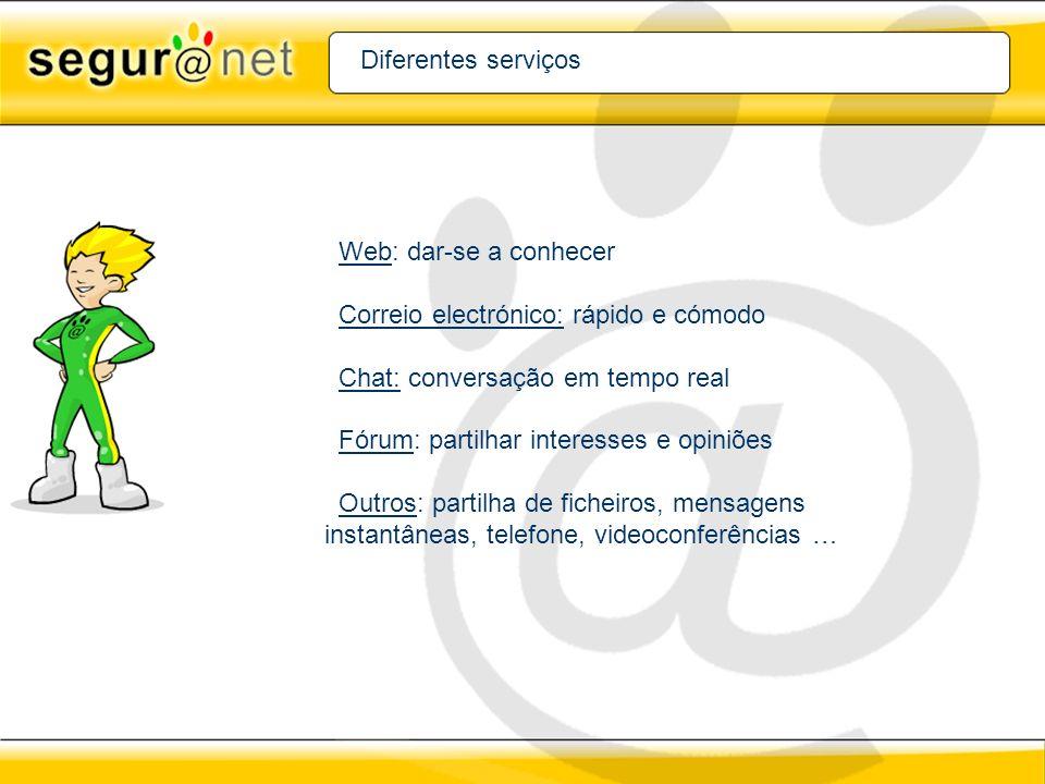 Diferentes serviços Web: dar-se a conhecer Correio electrónico: rápido e cómodo Chat: conversação em tempo real Fórum: partilhar interesses e opiniões