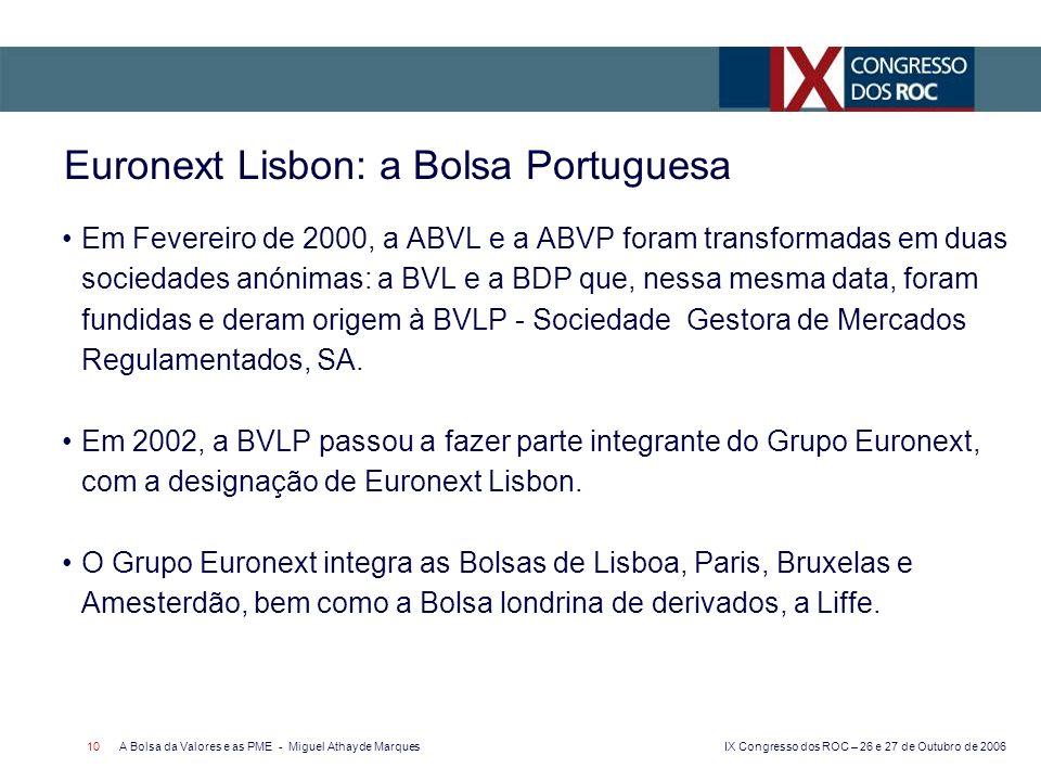 IX Congresso dos ROC – 26 e 27 de Outubro de 2006 A Bolsa da Valores e as PME - Miguel Athayde Marques 10 Euronext Lisbon: a Bolsa Portuguesa Em Fever