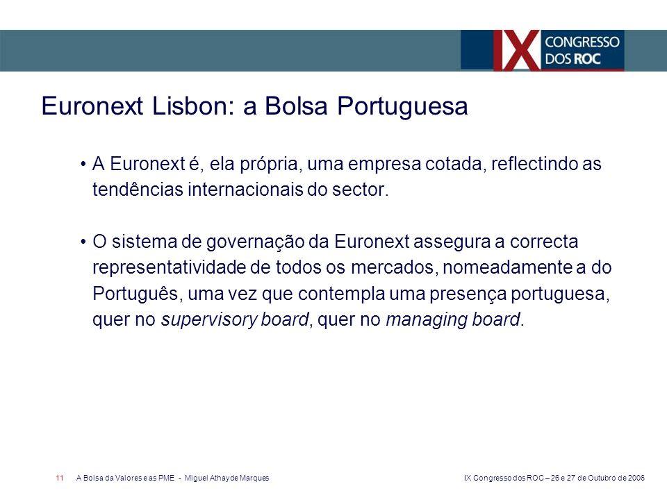 IX Congresso dos ROC – 26 e 27 de Outubro de 2006 A Bolsa da Valores e as PME - Miguel Athayde Marques 11 Euronext Lisbon: a Bolsa Portuguesa A Euronext é, ela própria, uma empresa cotada, reflectindo as tendências internacionais do sector.
