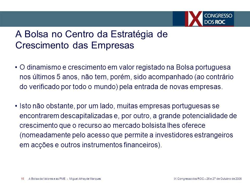 IX Congresso dos ROC – 26 e 27 de Outubro de 2006 A Bolsa da Valores e as PME - Miguel Athayde Marques 15 A Bolsa no Centro da Estratégia de Crescimen