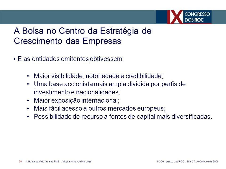IX Congresso dos ROC – 26 e 27 de Outubro de 2006 A Bolsa da Valores e as PME - Miguel Athayde Marques 20 A Bolsa no Centro da Estratégia de Crescimen