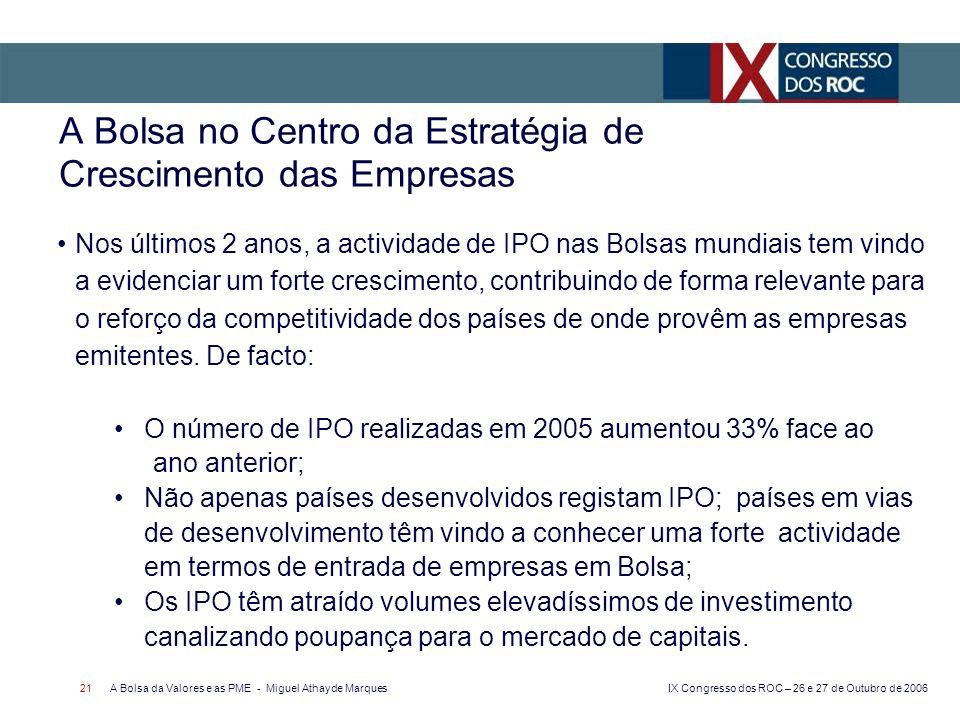 IX Congresso dos ROC – 26 e 27 de Outubro de 2006 A Bolsa da Valores e as PME - Miguel Athayde Marques 21 A Bolsa no Centro da Estratégia de Crescimen