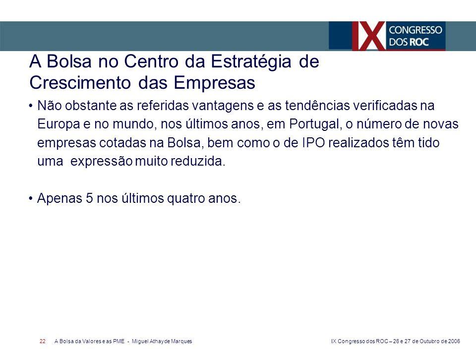 IX Congresso dos ROC – 26 e 27 de Outubro de 2006 A Bolsa da Valores e as PME - Miguel Athayde Marques 22 A Bolsa no Centro da Estratégia de Crescimento das Empresas Não obstante as referidas vantagens e as tendências verificadas na Europa e no mundo, nos últimos anos, em Portugal, o número de novas empresas cotadas na Bolsa, bem como o de IPO realizados têm tido uma expressão muito reduzida.