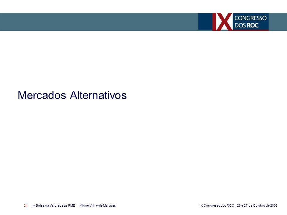 IX Congresso dos ROC – 26 e 27 de Outubro de 2006 A Bolsa da Valores e as PME - Miguel Athayde Marques 24 Mercados Alternativos