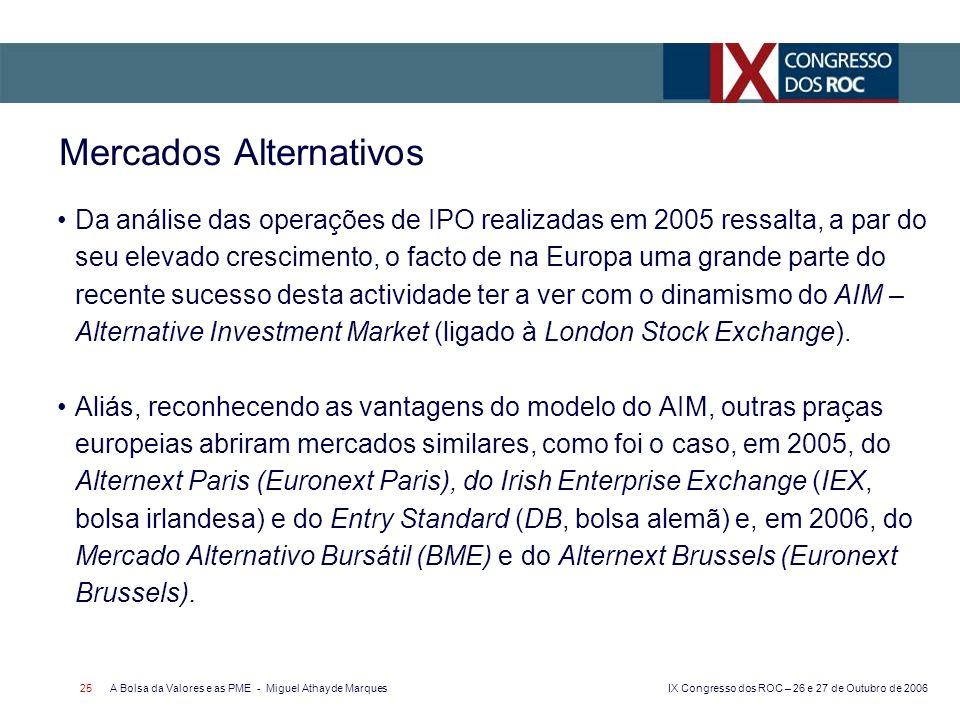 IX Congresso dos ROC – 26 e 27 de Outubro de 2006 A Bolsa da Valores e as PME - Miguel Athayde Marques 25 Mercados Alternativos Da análise das operações de IPO realizadas em 2005 ressalta, a par do seu elevado crescimento, o facto de na Europa uma grande parte do recente sucesso desta actividade ter a ver com o dinamismo do AIM – Alternative Investment Market (ligado à London Stock Exchange).