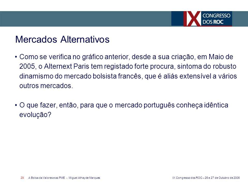 IX Congresso dos ROC – 26 e 27 de Outubro de 2006 A Bolsa da Valores e as PME - Miguel Athayde Marques 29 Mercados Alternativos Como se verifica no gr