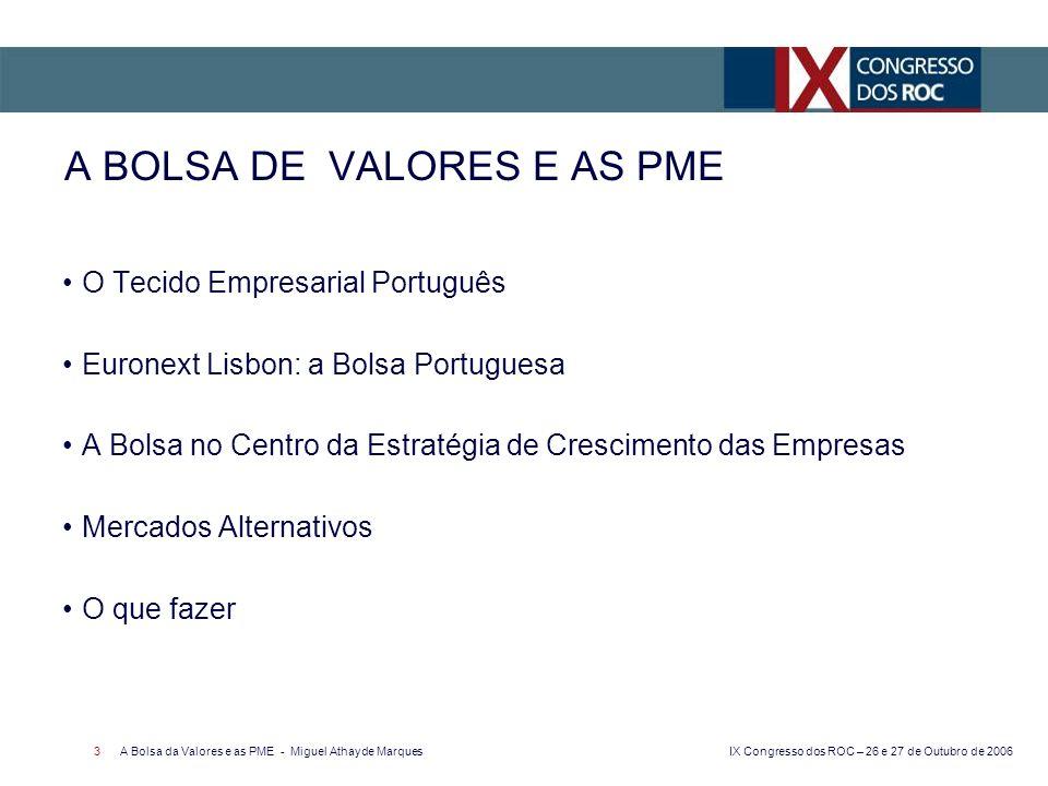 IX Congresso dos ROC – 26 e 27 de Outubro de 2006 A Bolsa da Valores e as PME - Miguel Athayde Marques 3 O Tecido Empresarial Português Euronext Lisbo