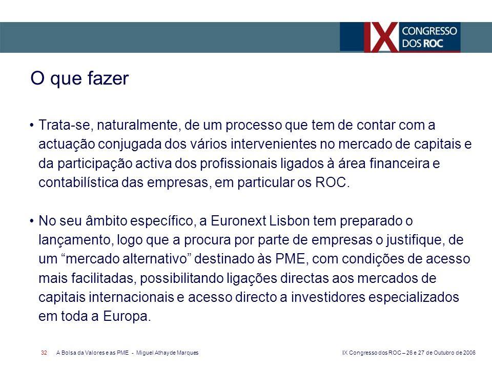 IX Congresso dos ROC – 26 e 27 de Outubro de 2006 A Bolsa da Valores e as PME - Miguel Athayde Marques 32 Trata-se, naturalmente, de um processo que t