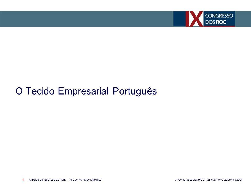 IX Congresso dos ROC – 26 e 27 de Outubro de 2006 A Bolsa da Valores e as PME - Miguel Athayde Marques 4 O Tecido Empresarial Português