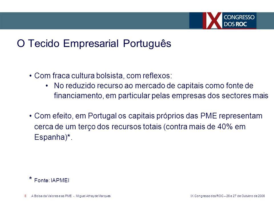 IX Congresso dos ROC – 26 e 27 de Outubro de 2006 A Bolsa da Valores e as PME - Miguel Athayde Marques 7 Euronext Lisbon: a Bolsa Portuguesa