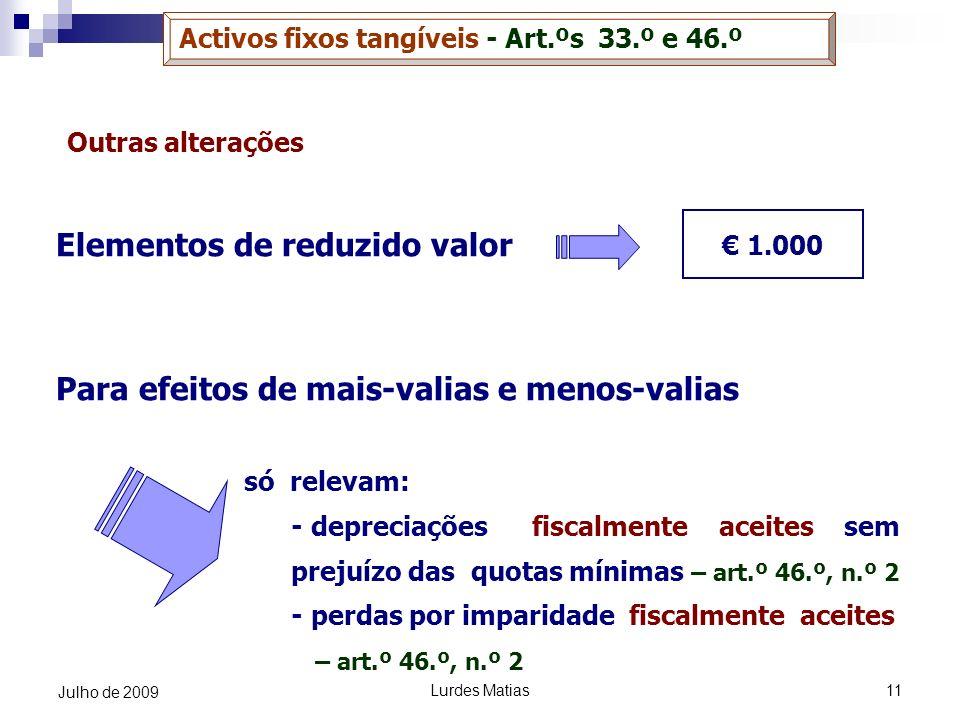 Lurdes Matias11 Julho de 2009 Outras alterações Elementos de reduzido valor Para efeitos de mais-valias e menos-valias só relevam: - depreciações fisc
