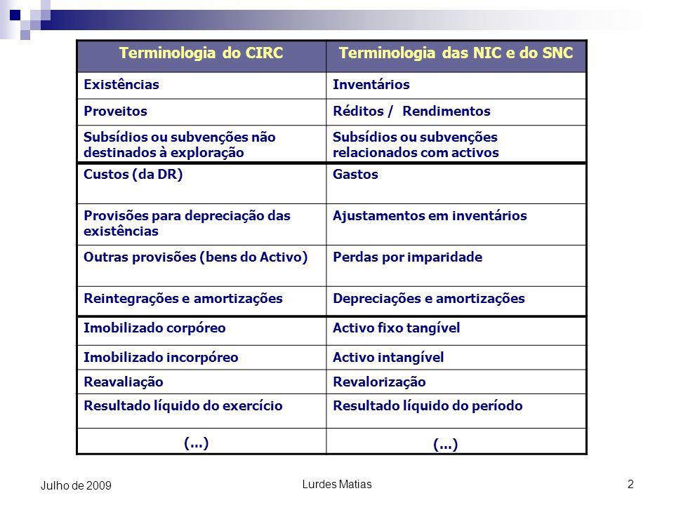 Lurdes Matias2 Julho de 2009 Terminologia do CIRCTerminologia das NIC e do SNC ExistênciasInventários ProveitosRéditos / Rendimentos Subsídios ou subv