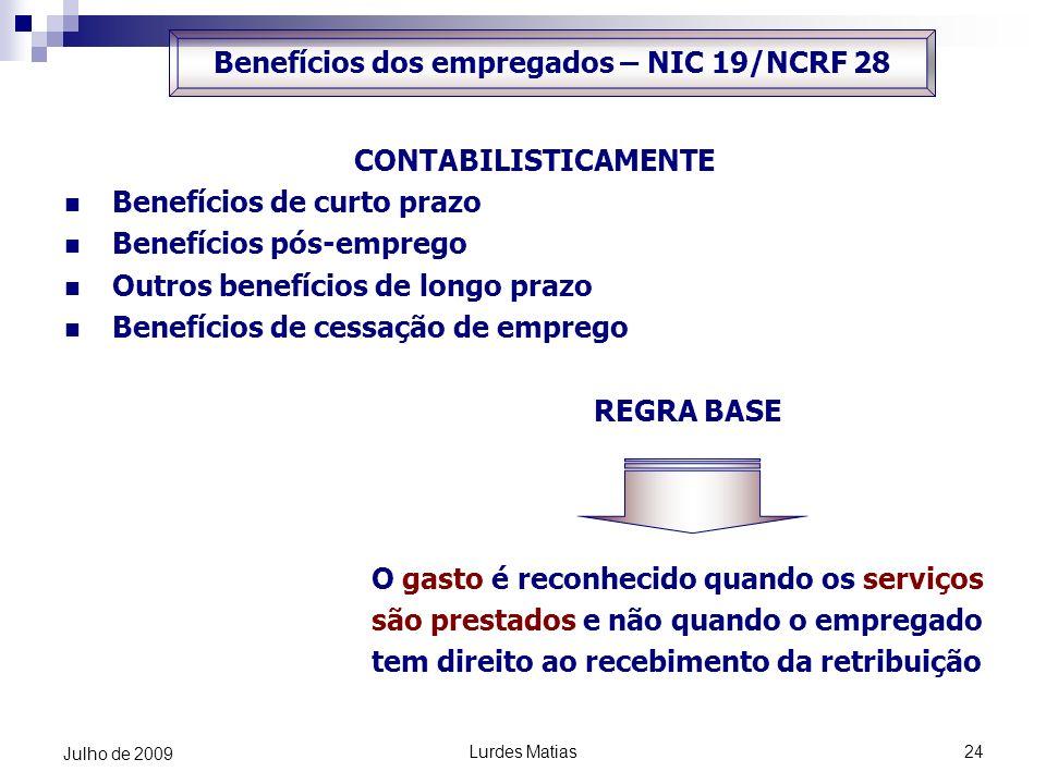 Lurdes Matias24 Julho de 2009 CONTABILISTICAMENTE Benefícios de curto prazo Benefícios pós-emprego Outros benefícios de longo prazo Benefícios de cess