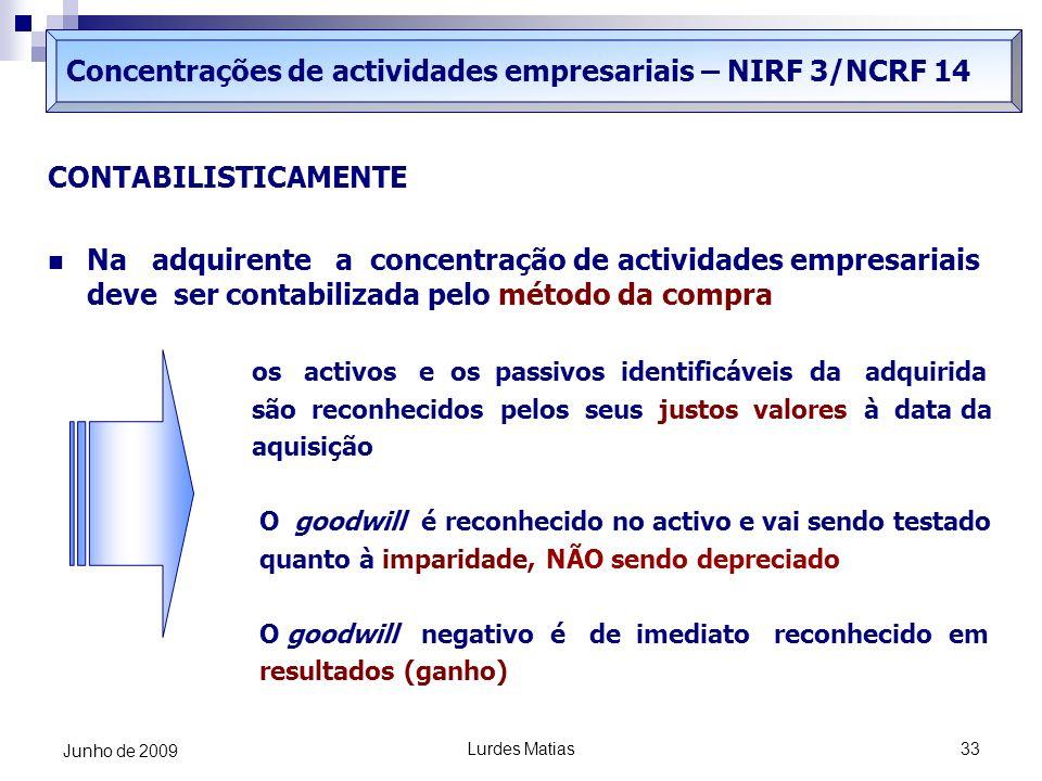 Lurdes Matias33 Junho de 2009 Concentrações de actividades empresariais – NIRF 3/NCRF 14 CONTABILISTICAMENTE Na adquirente a concentração de actividad