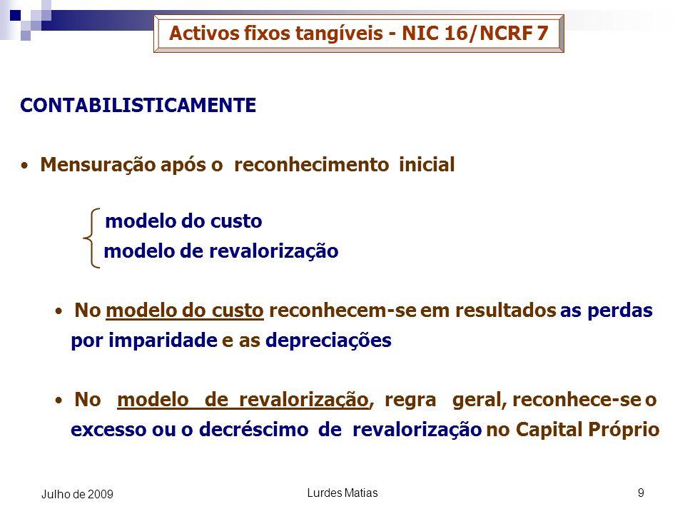 Lurdes Matias9 Julho de 2009 Activos fixos tangíveis - NIC 16/NCRF 7 CONTABILISTICAMENTE Mensuração após o reconhecimento inicial modelo do custo mode
