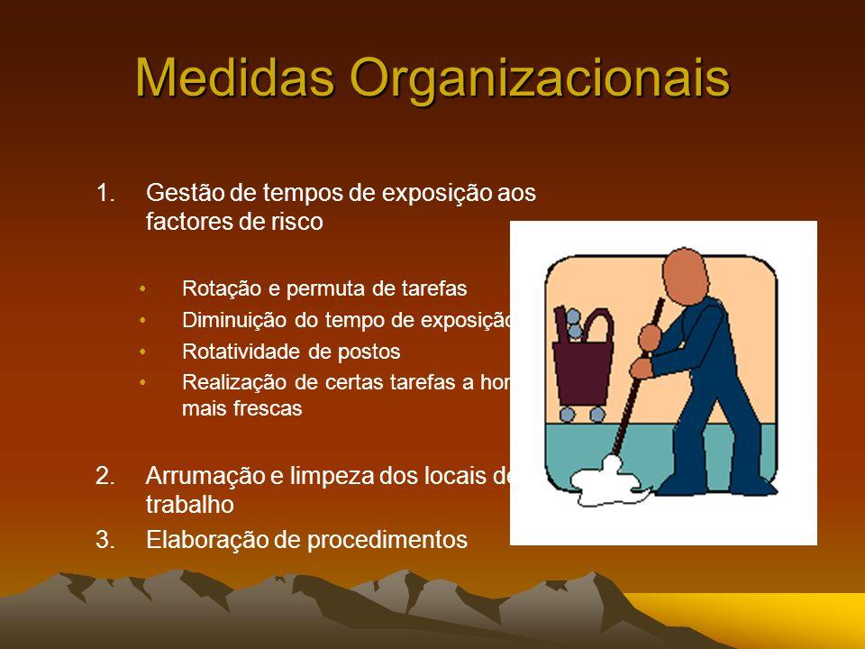Medidas Organizacionais 1.Gestão de tempos de exposição aos factores de risco Rotação e permuta de tarefas Diminuição do tempo de exposição Rotativida