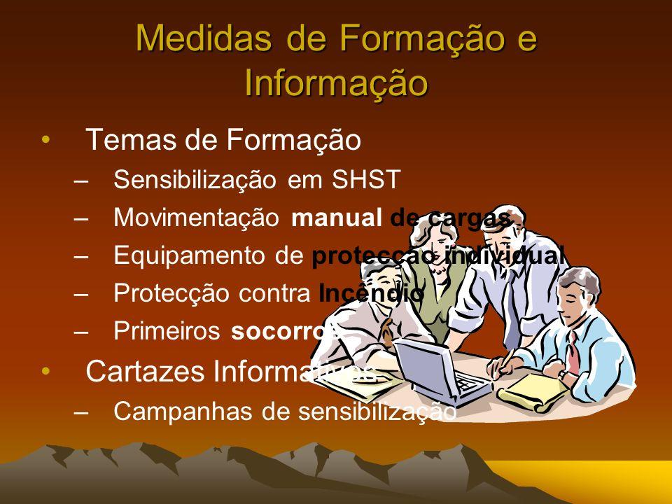 Medidas de Formação e Informação Temas de Formação –Sensibilização em SHST –Movimentação manual de cargas –Equipamento de protecção individual –Protec