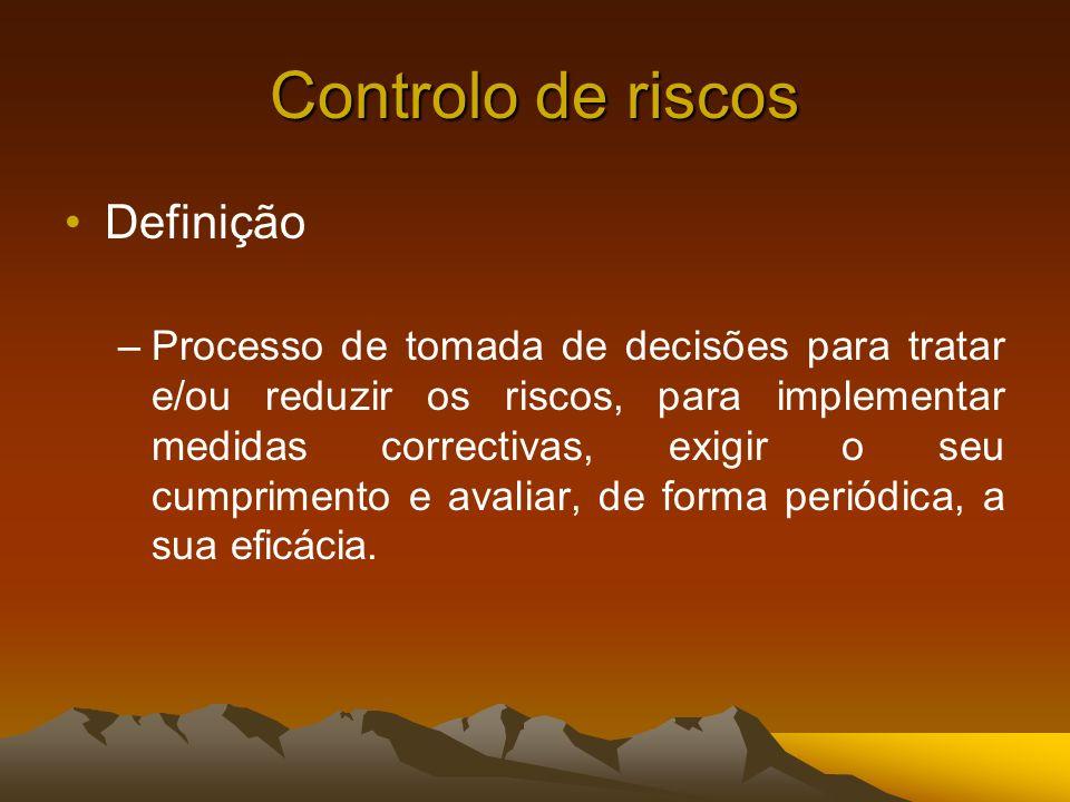 Controlo de riscos Definição –Processo de tomada de decisões para tratar e/ou reduzir os riscos, para implementar medidas correctivas, exigir o seu cu