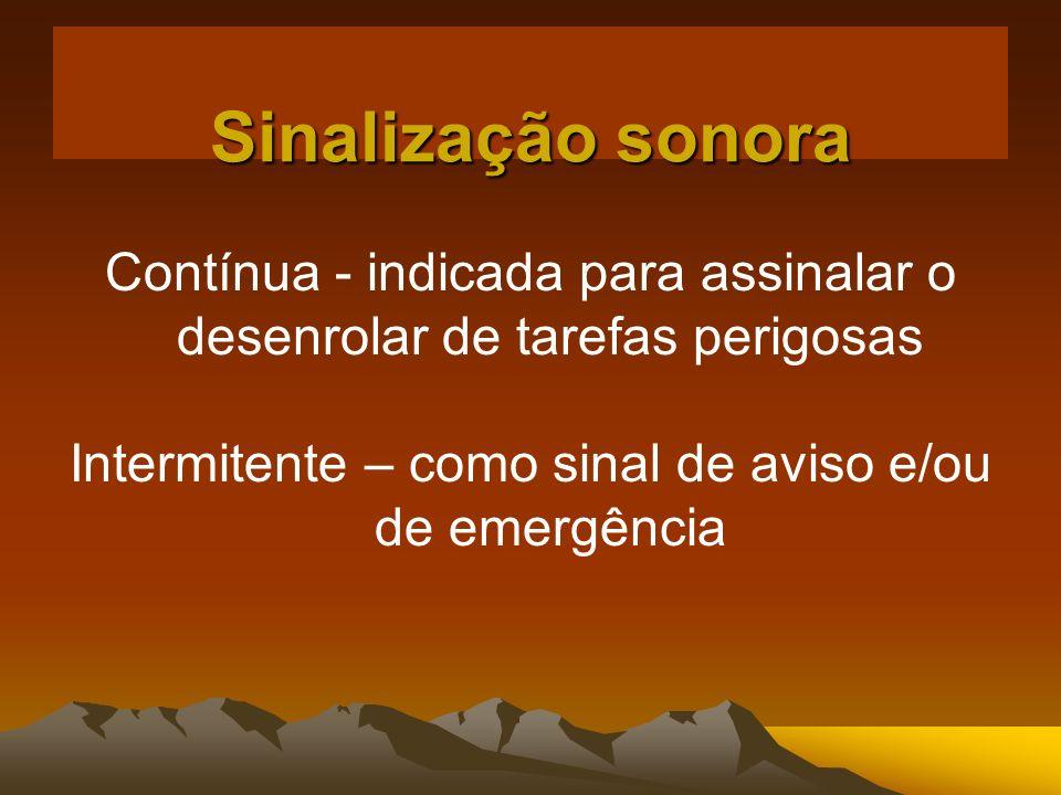 Sinalização sonora Contínua - indicada para assinalar o desenrolar de tarefas perigosas Intermitente – como sinal de aviso e/ou de emergência