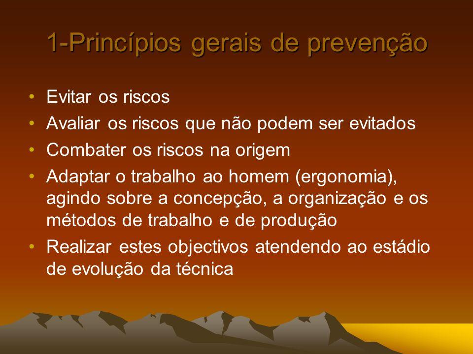 1-Princípios gerais de prevenção Evitar os riscos Avaliar os riscos que não podem ser evitados Combater os riscos na origem Adaptar o trabalho ao home
