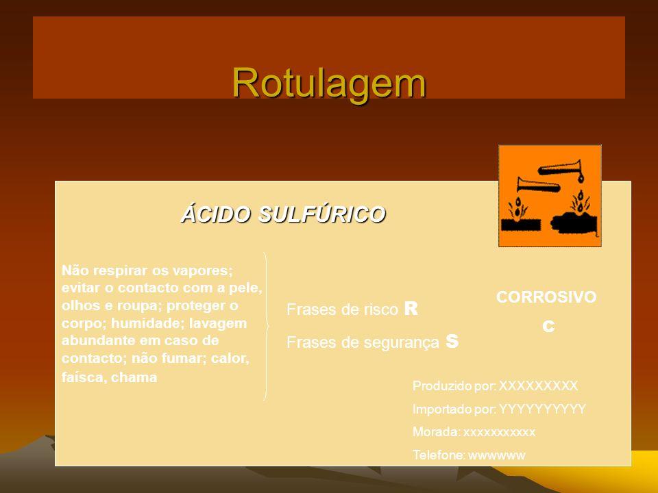 Rotulagem CORROSIVO C ÁCIDO SULFÚRICO Produzido por: XXXXXXXXX Importado por: YYYYYYYYYY Morada: xxxxxxxxxxx Telefone: wwwwww Frases de risco R Frases